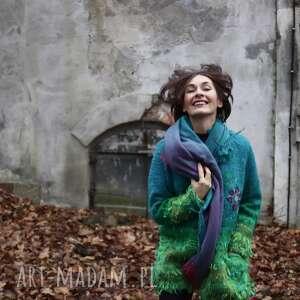zielone folk ciepły, rozpinany sweter z kołnierzem