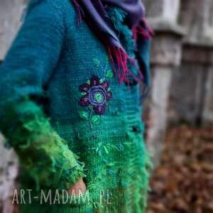 handmade swetry folk sweter turkusowy wełniany