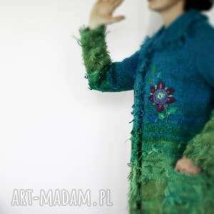 wełniany swetry sweter turkusowy