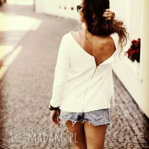 białe swetry sweter v-back, rozmiar s
