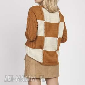 handmade swetry sweter w kratę, swe172 karmel/beż