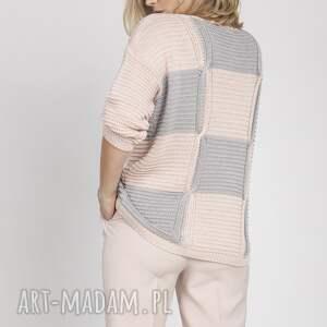 swetry sweter w kratę, swe172 róż/szary