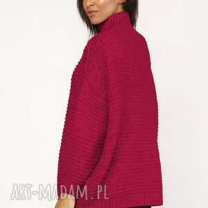 swetry ciepły sweterek - golf, swe116 malinowy