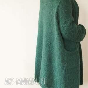 swetry kieszenie szmaragdowy kardigan