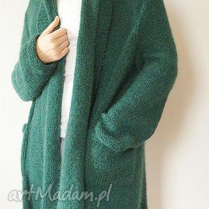 modne swetry kardigan szmaragdowy