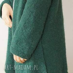 kieszenie swetry szmaragdowy kardigan