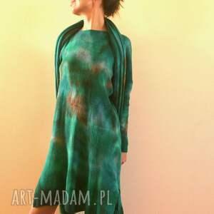 ręcznie zrobione swetry wełniany szmaragdowy sweter