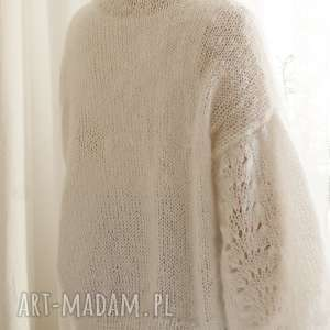 hand made swetry ślubny tulip - biały