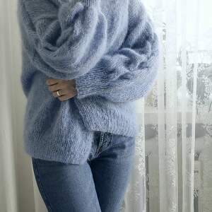 wełniany swetry tulip - niebieski