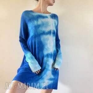 sweter swetry niebieskie unikatowy ręcznie barwiony z wysokiej