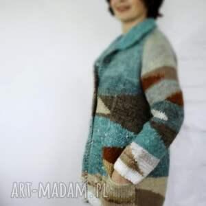 handmade swetry wełniany sweter w geometryczne