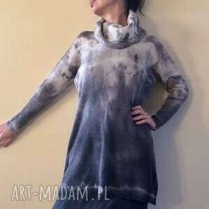 swetry wełna unikatowy ręcznie barwiony sweter, tunika