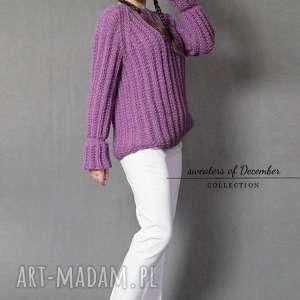 swetry dziergany wrzosowy sweter