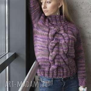 sweter swetry wrzosowy warkocz