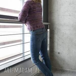 swetry sweter wrzosowy warkocz