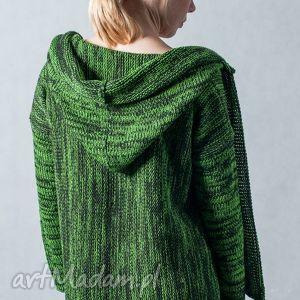niepowtarzalne swetry sweter zielony melanżowy rozpinany