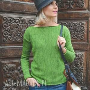 oryginalne swetry wełna zielony sweter z kominem - arthermina