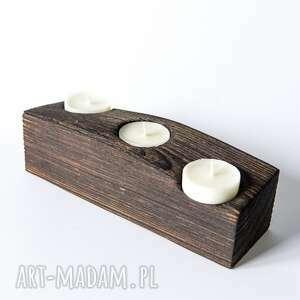 modne świeczniki stare drewniany świecznik z belki
