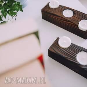 modne świeczniki rustic drewniany świecznik z belki