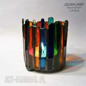 ręcznie wykonane świeczniki lampion, świecznik z kolorowego