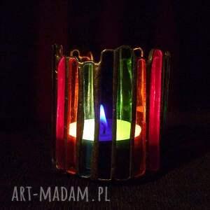 ręcznie wykonane świeczniki kolorowy lampion, świecznik z kolorowego