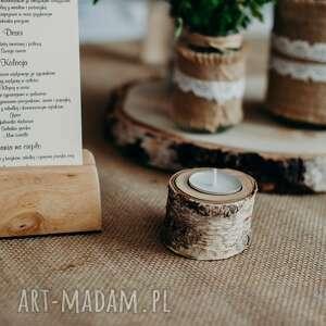 urokliwe świeczniki brzozowy świecznik na 1 tealight /