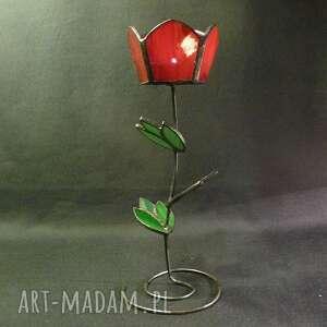 lampion świeczniki tulipan czerwony. uroczy świecznik
