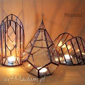 witraż świeczniki wiszący lampion witrażowy tykwa