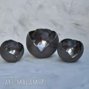 szare świeczniki lampion zestaw - ceramiczny ozdobny