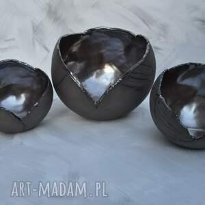 ceramika świeczniki brązowe ręcznie lepione lampiony ceramiczne z ciemnej
