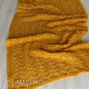 ciepły szaliki ażurowy musztardowy szal na drutach