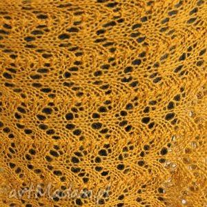 hand-made szaliki szal ażurowy musztardowy na drutach