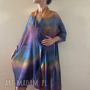 fioletowe szaliki dzianina barwny duży lniany szal