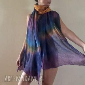 szal szaliki kolorowe barwny duży lniany