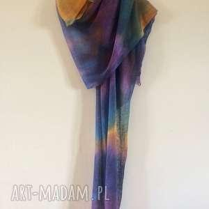szaliki lniany barwny duży szal