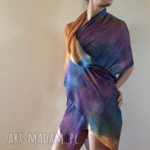 szaliki szal barwny duży lniany