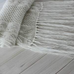 szaliki ażurowy biały szal z frędzlami