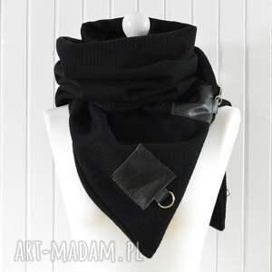 czarne szaliki szal ciepły wełniany - unisex