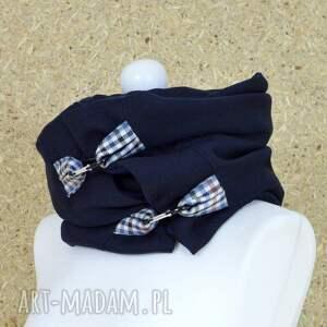 niebieskie szaliki szal ciepły granatowy zapinany