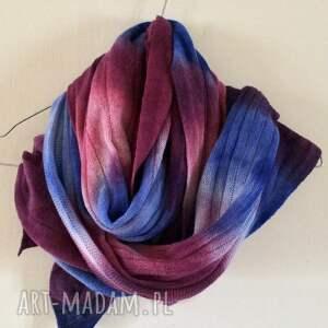 szal szaliki niebieskie unikatowy, ręcznie barwiony z wysokiej
