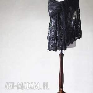 handmade szaliki ażurowy czarny szal