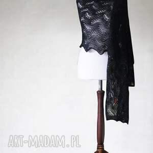 szaliki ażurowy czarny szal