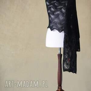 ażurowy szaliki czarny szal