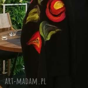 niepowtarzalne szaliki szal czarny damski zimowy z wełną