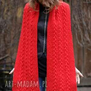 awangardowe szaliki szal długi czerwony