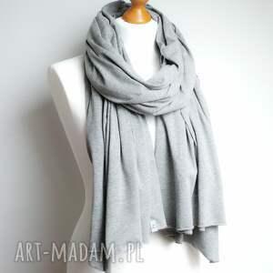 szaliki szalik długi szal bawełniany szary
