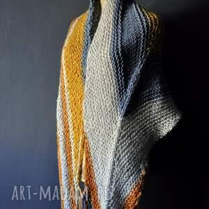 pomarańczowe szaliki chusta duża ciepła