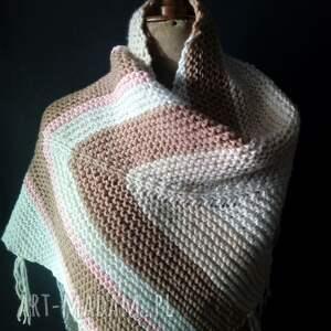 beżowe szaliki szal duża ciepła chusta
