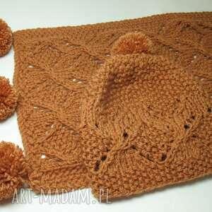 szaliki ażurowy duży szal i czapka
