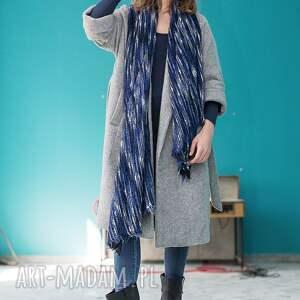 duży szaliki niebieskie dzianinowy szal chusta